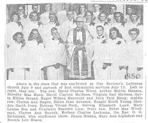 1950 Our Saviours confirmands