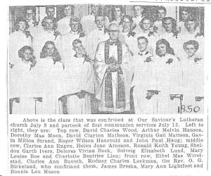1950 Our Saviours confirmands