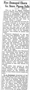 1951 Ekern Store Fire
