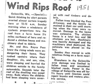 1951 wind storm Gale