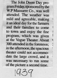 Arcadia John Deere Day 1939