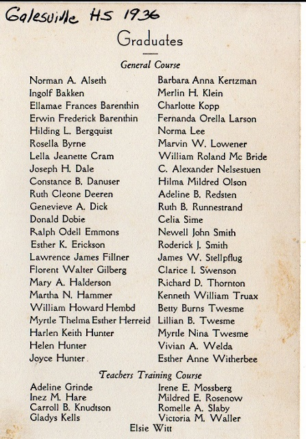 Galesville HS Grads 1936
