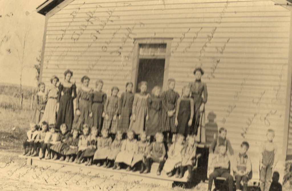 Grant School circa 1900, GRANT SCHOOL—CIRCA 1900 Top row L-R- Bertha Schmidt, Kitty Stellpflug, Flossie Stellpflug, Clara Olson, Laura Stellpflug, Maude Grant, Winnie Nova Poss, Lula Marsh, Edith Marsh, Melva Evenson, Nellie Lane (teacher) Bottom- Con Westra, Elmer Evenson, George Oliver, Yetti Westra, Florence Cook, Fern Cook, Hessa Lee, Julia Scarseth, Nova Scarseth, Minnie Johnson, Blanche Marsh, Lester Evenson, Grace Stellfplug, Laura Bornitz, Willie Oliver, Joe Johnson Two boys seated on left in front- Ornie Evenson, Hollis Lee