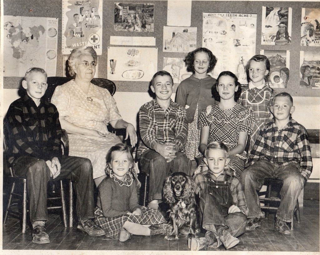 Oak Ridge School 1941,OAK RIDGE SCHOOL 1941 Back Row L-R- Dick Andriesen, Alice Everson (teacher), Ralph Stevens, Beverly Bautch, Ardys Bautch, Doris Onsrud, Lloyd Andriesen Front-L ?R- Elsie Onsrud, Roger Onsrud