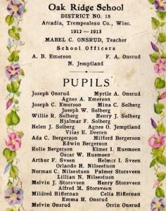 Oak Ridge School 1912-13