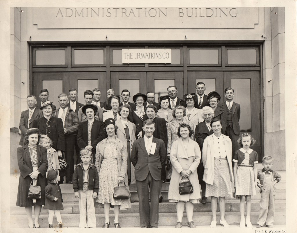 Watkins Group 1941,Group on a Watkins tour, 1941-photo found behind photo of Oak Ridge School. Any IDs? Little boy in front row, 3rd from left appears to be an Onsrud--photo found behind another photo of Oak Ridge School