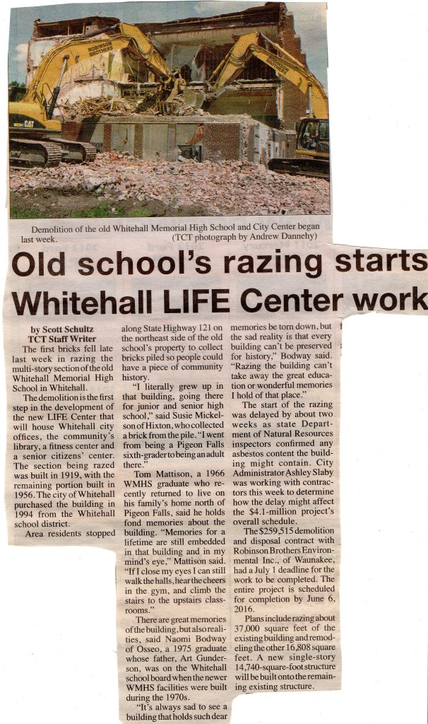 Whitehall HS Razed 2015