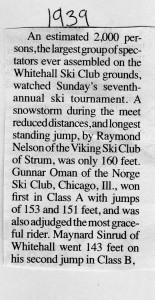 Whitehall Ski Club 1939