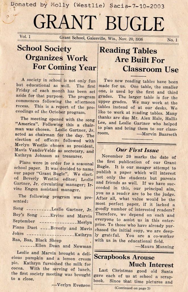 Grant Bugle page 1